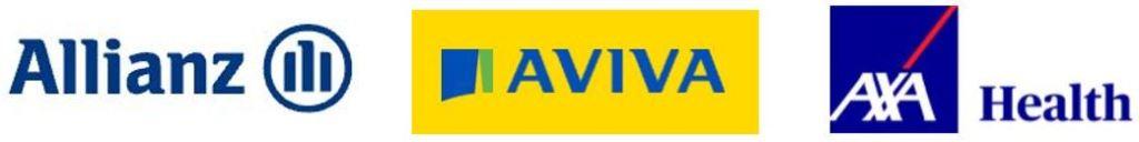Allianz, Aviva, AXA Health logos